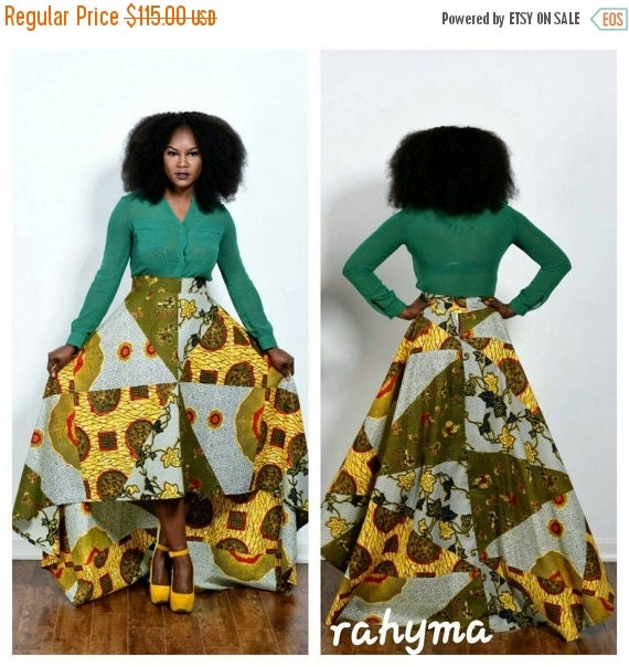 SPRING SALE NEW patch work African  print Aline high-low  skirt, holland wax print.