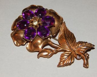 Vintage Gold Tone Unsigned Huge Flower Brooch Purple & Clear Prong Set Rhinestones