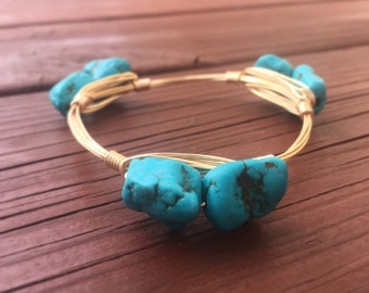 Turquoise Howlite Wire Bangle
