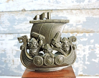 Pewter Viking Longboat Boat Ship Figurine Pirate Tinn of Norway Ship Figurine Collectible Pewter Figurines Norwegian Pewter