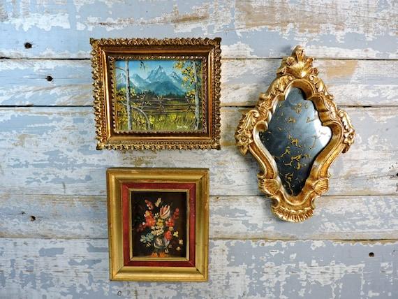 Framed Wall Art Gold Gilt Frames Miniature Oil Paintings