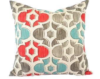 One geometric pillow cover, Coral Pillow, Blue Pillow, Grey Pillow, Home decor, decorative pillow, throw pillow, Home decor