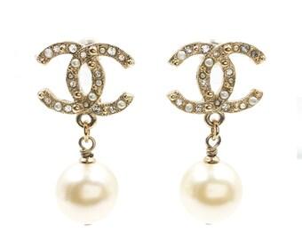Authentic Chanel Gold Mini Pearl CC Pearl Dangle Piercing Earrings