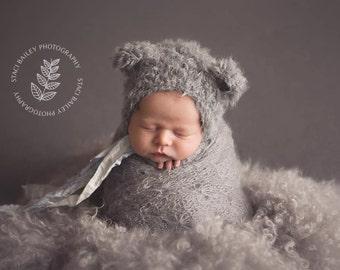 Newborn Photo Prop//Newborn Bear Hat//Fuzzy Baby Bear Hat//Unisex Hat//Newborn Props//Knitted Bear Hat//Baby Shower Gift//Knitted Hat