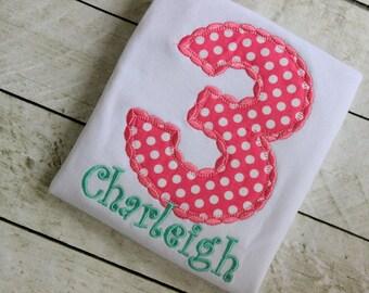 girls birthday shirt pink polka dot birthday clothing ONLY  birthday number pink applique top polka dot birthday shirt set outfit clothing