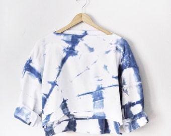 Womens Shibori Slouchy Crop Sweatshirt