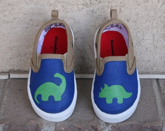 HAND PAINTED DINOSAUR Shoes, boy shoes, baby, toddler, and child sizes