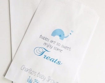 ON SALE Baby Shower Candy Buffet Bags, Candy Favor Bags, Elephant Baby Shower, Party Bags, Treat Bags