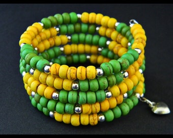 Green and Yellow Magnesite Beads Memory Wire Bracelet.