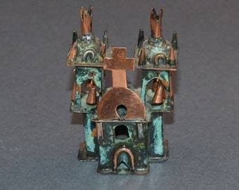 "Old Santa Fe Style Copper Spanish Colonial Church, 2.5"" Tall"