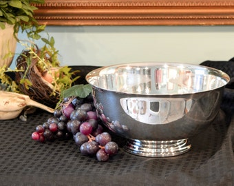 Large Reed & Barton Silver Plate Bowl - Paul Revere Style Silver Serving Bowl - Pedestal Base Silver Plate Bowl