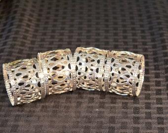 Silver Plate Napkin Rings - Set of 4 Napkin Rings - Filigree Silver Napkin Rings