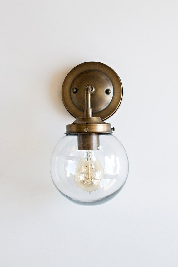 Wall Sconce with Clear Glass Globe Shade