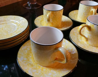 Stangl Town & Country Hand Painted Yellow Sponge Design with Black trim- 8 Saucers, 4 Coffee cups and Creamer