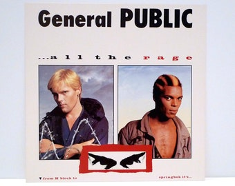 General Public Poster 1984 Vintage 1980s All The Rage Flat British New Wave Band Ranking Roger David Wakeling Beat Goes Public Mohawk Music
