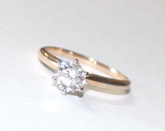 Solitaire Diamond Ring 14k yellow gold - 8.25 size - sku 2608b1