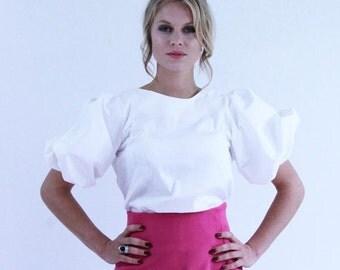 Women short sleeve white blouse, puff sleeve blouse, balloon sleeve blouse, white top, white shirt, puff sleeve top