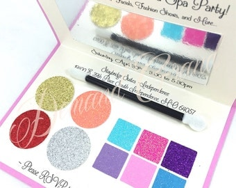 Spa Party Invitation - Looks like a Makeup Compact! Perfect for Birthday, Sweet 16 Birthday, Spa Party, Pamper Party