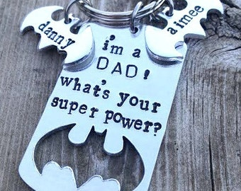 Keychain with kids names for dad, Whats your super power keychain for dad, super hero keychain, Personalized gift for dad, hand stamped dad