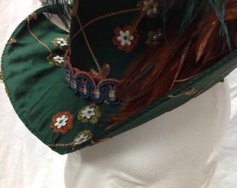 Small  Victorian or Elizabethan Hat - Dark Green Embroidered Silk Steampunk Fascinator OOAK