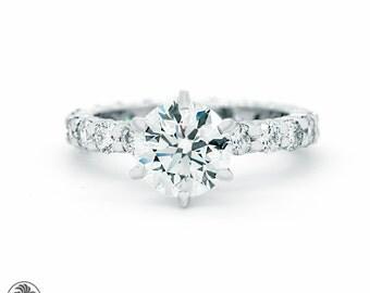 Eternity Engagement Ring, Prong Set Round Diamond Ring, Eternity Diamond Semi-Mount, Full Eternity Platinum Diamond Engagement | LDR02351