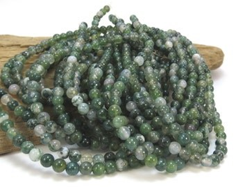 Moss Agate Beads, Natural 4mm Agate Beads, 4mm Green Beads, 16 inch Strand, Beading Supplies, Item 771pm
