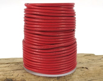 Leather Cord, 2mm Red Leather Cord, 25 Yard Spool Leather Cord, Red Leather Necklace Cord, Item 890c
