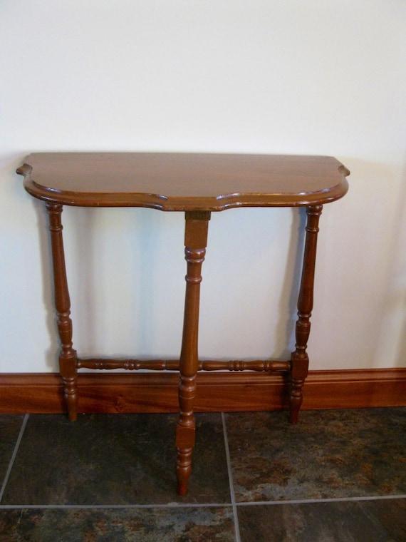 Vintage Half Moon Side Table 3 Legged Table Small Wood