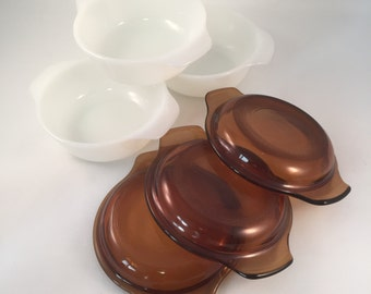 6 Piece Set of  White Fire King Bowls with Brown Lids 1950's ( 3 Complete Sets)