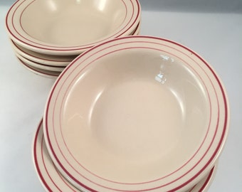 Sterling Vitrified Restaurant Style Bowls with Triple Stripes, Set of 6, Soup, Salad, Cereal Size, Made in USA