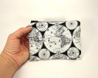 world map card wallet, black and white, card wallet, map zipper pouch, map clutch map purse, change pouch