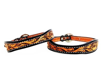 MadcoW Western Style Floral Tooling Canine Leather Dog Collar Hand Made Fully Adjustable