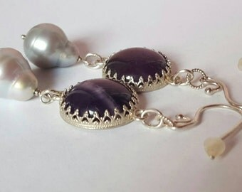 Beautiful Silver earrings with large Amethyst and gray Pearl drops