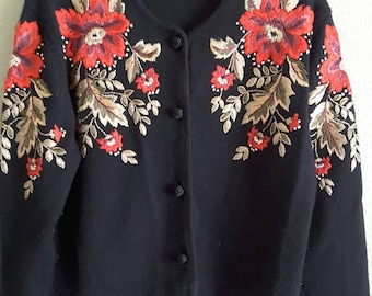 1993 Susan Bristol Black Sweater with Embroidery Size Medium Button Front