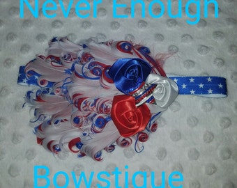 Patriotic  July 4th Red White Blue Nagorie Feather Headband 16 inch headband does stretch ages 9m-up