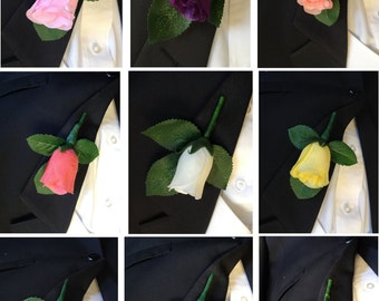 Classic Rosebud Boutonniere with Vein Printed Leaves Wrapped with Floral Tape - Pick Rosebud Color