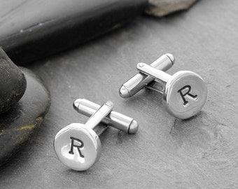 Monogram Cufflinks, Custom Cufflinks, Wedding Cufflinks, Engraved Cufflinks, Cufflinks, Initial Cufflinks, Mens Cufflinks, Sterling,  C246SS