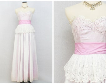 Linen Eyelet Peplum Gown - Vintage 60s White and Pink Strapless Prom Dress - Vintage 1960s Debutante Dress