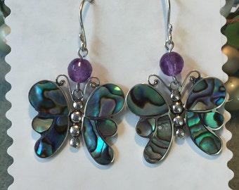 BUTTERFLY Amethyst ABALONE shell earrings-Sterling Silver, Spring earrings.