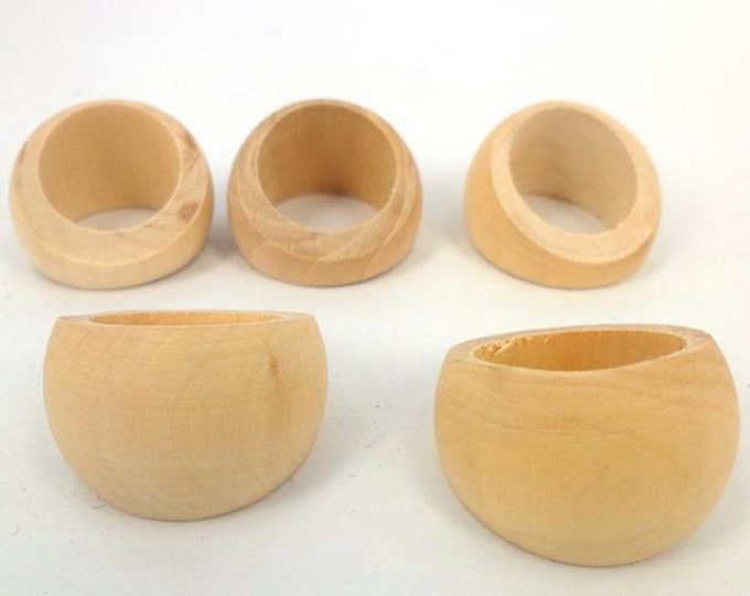 Unfinished Wooden Ring 5pcs DIY Wholesale