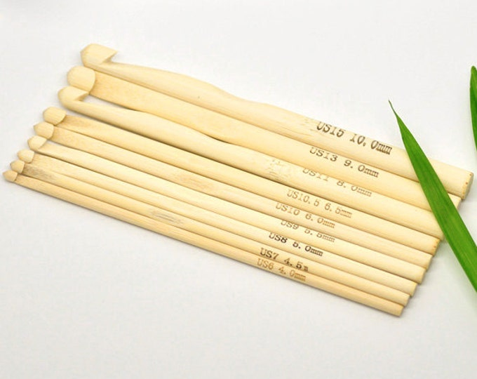 Bamboo Crochet Hooks Knitting Needles 9 Sizes 4-10mm/US 6-15