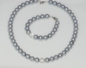 Blue-gray necklace + bracelet glass beads shamballa