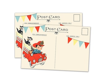 """Digital Vintage Fire Truck Postcards /  4"""" by 6"""" and 2.5"""" by 3.5"""" / ATC, post card, Project Life/ instant download"""