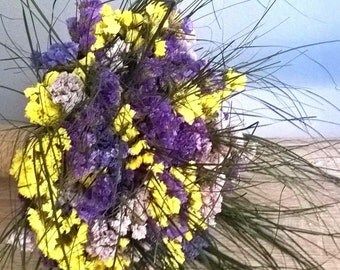 LOWER PRICE NOW! Dried Floral Bridal Bouquet - Statice Bouquet - Country Wedding Bouquet