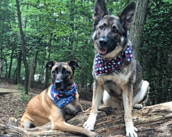 Tie-on Dog Bandana Stars and Ribbons* - XSmall/Small/Medium/Large