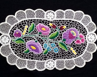 Kalocsa Embroidery, Hungarian Vintage Hand Embroidered Doily