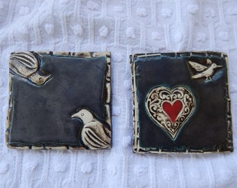 Handmade Ceramic Tile set of two
