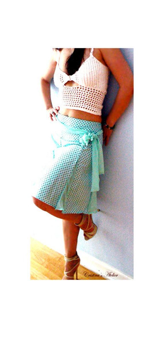 Caroline flared skirt- Mint blue knee skirt -Women summer dots skirt- Fashion chic skirt- Inserts polka dots skirt-Flirty retro cotton skirt