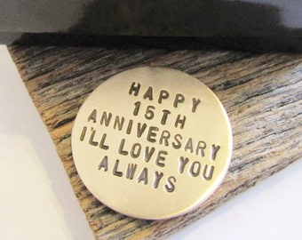 15th Anniversary Golf Ball Marker for Men 15th Wedding Anniversary Gift for Golfer Wife Handstamped Ball Marker Fifteenth Anniversary Gift