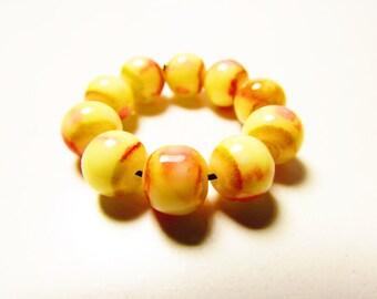 D-00920 - 10 Glass beads 8mm Yellow-Orange